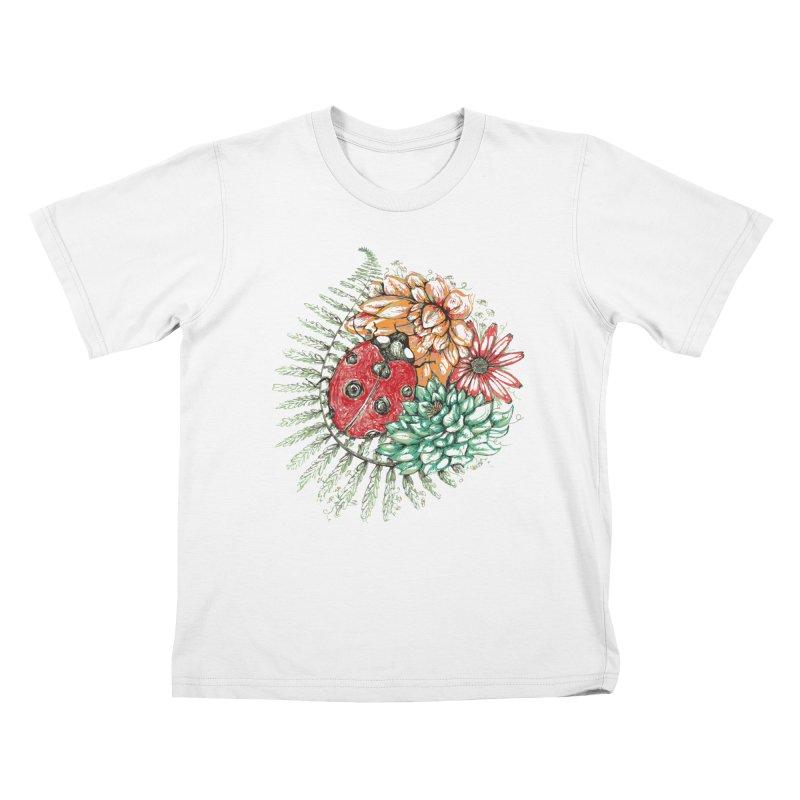 Ladybug on flowers Kids T-Shirt by szjdesign's Artist Shop