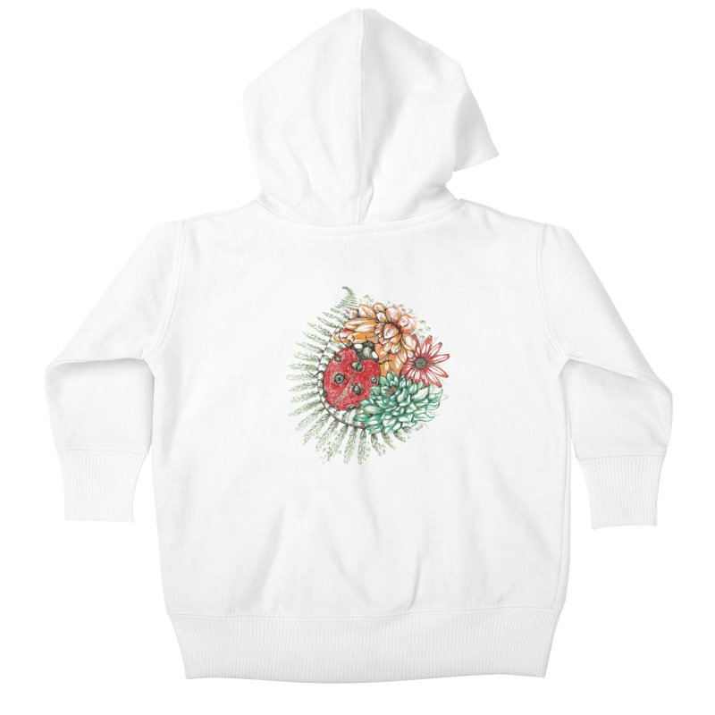 Ladybug on flowers Kids Baby Zip-Up Hoody by szjdesign's Artist Shop