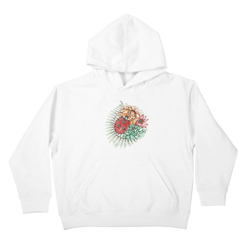 Ladybug on flowers Kids Pullover Hoody by szjdesign's Artist Shop