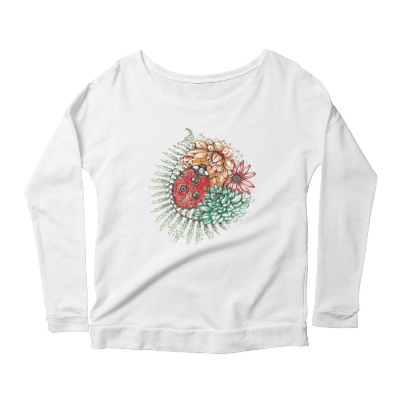 Ladybug on flowers Women's Longsleeve Scoopneck  by szjdesign's Artist Shop