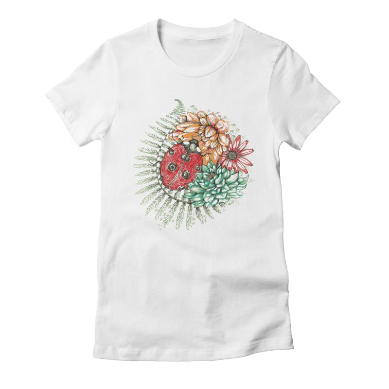Ladybug on flowers Women's Fitted T-Shirt by szjdesign's Artist Shop