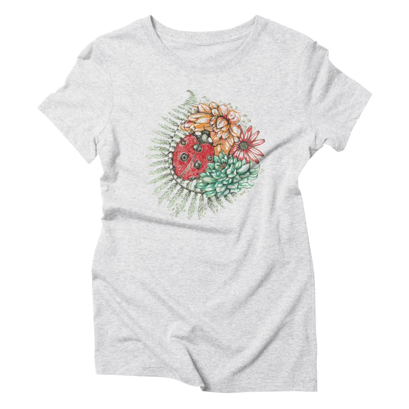 Ladybug on flowers Women's Triblend T-Shirt by szjdesign's Artist Shop