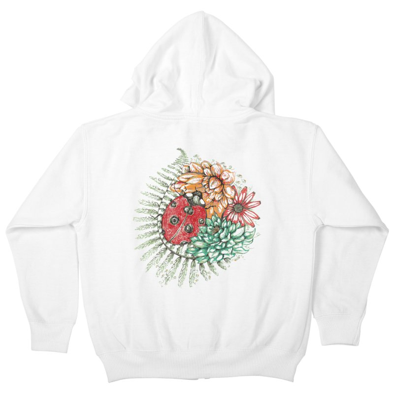 Ladybug on flowers Kids Zip-Up Hoody by szjdesign's Artist Shop
