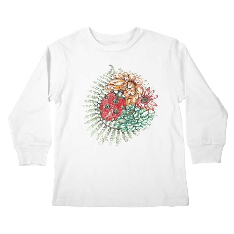 Ladybug on flowers Kids Longsleeve T-Shirt by szjdesign's Artist Shop