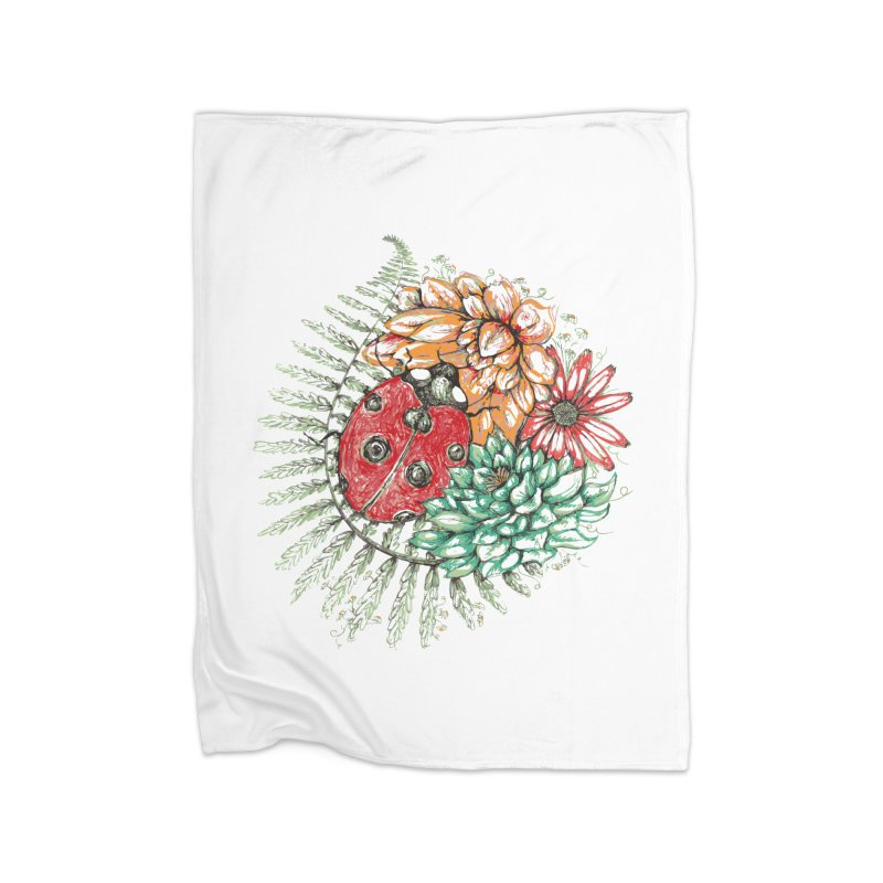 Ladybug on flowers Home Blanket by szjdesign's Artist Shop