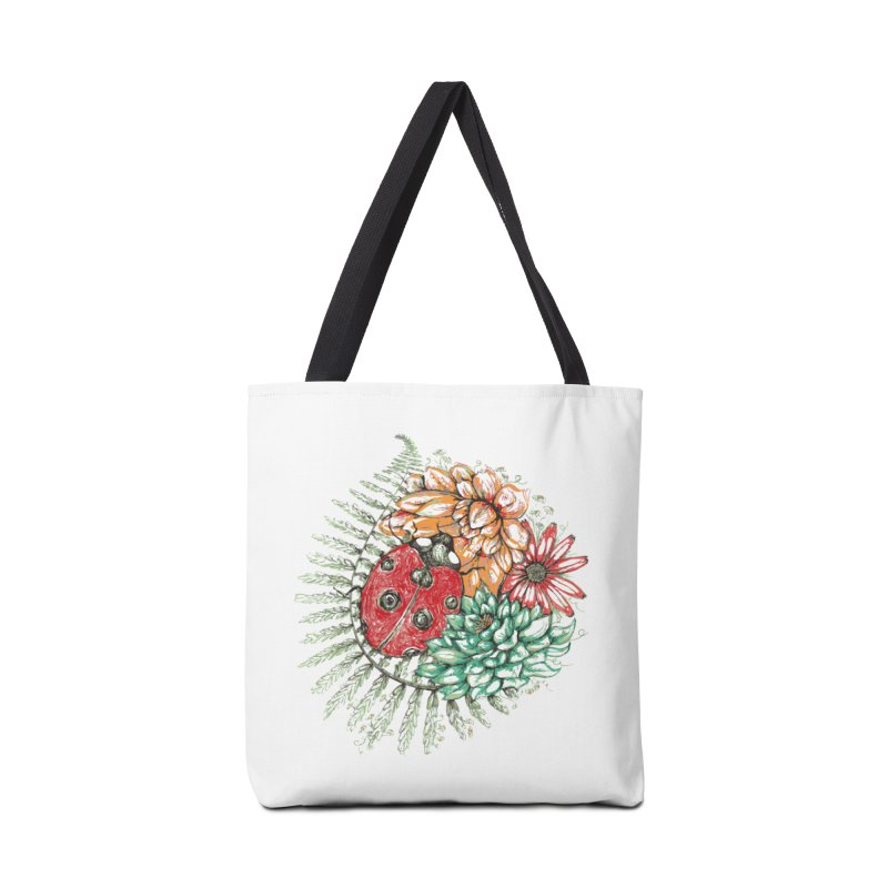 Ladybug on flowers Accessories Bag by szjdesign's Artist Shop