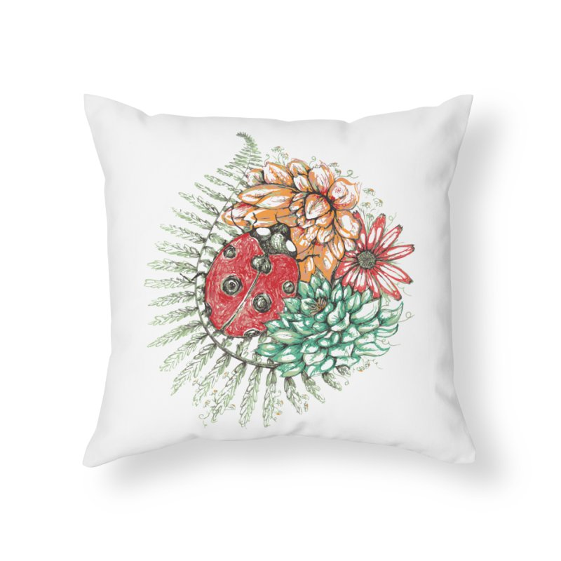 Ladybug on flowers Home Throw Pillow by szjdesign's Artist Shop
