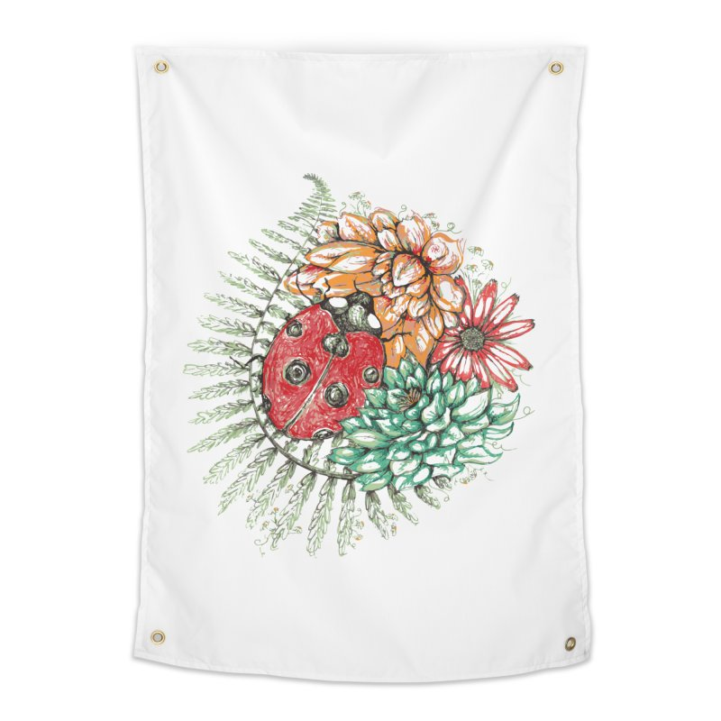Ladybug on flowers Home Tapestry by szjdesign's Artist Shop