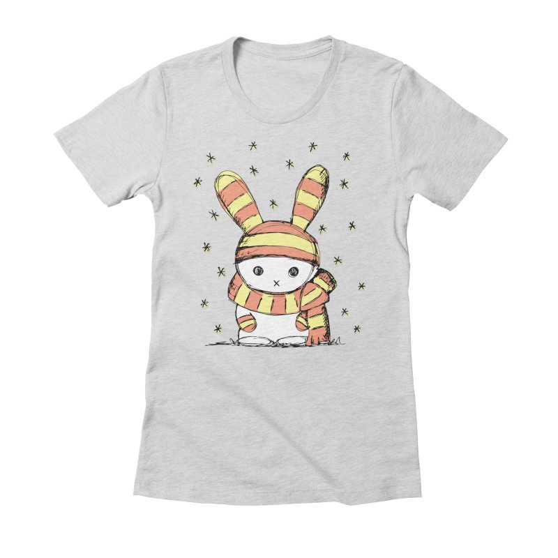 Winter bunny :) Women's Fitted T-Shirt by szjdesign's Artist Shop