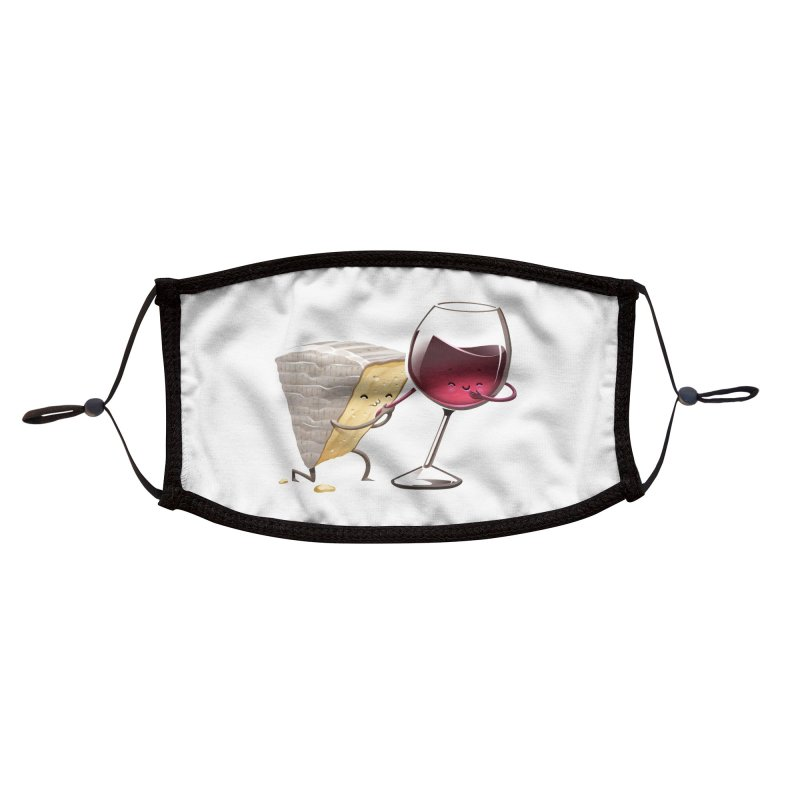 Wine and Cheese Accessories Face Mask by T2U