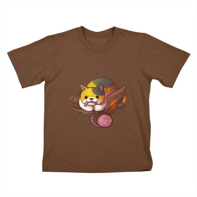 Neko's Simple Pleasures Kids T-Shirt by Kathleen Morrill, Tabbloza Art and Designs