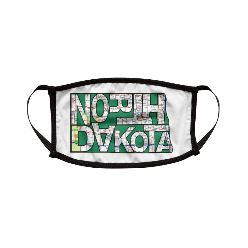 North Dakota State Map Typography Graphic Accessories Face Mask by taeamade's Artist Shop