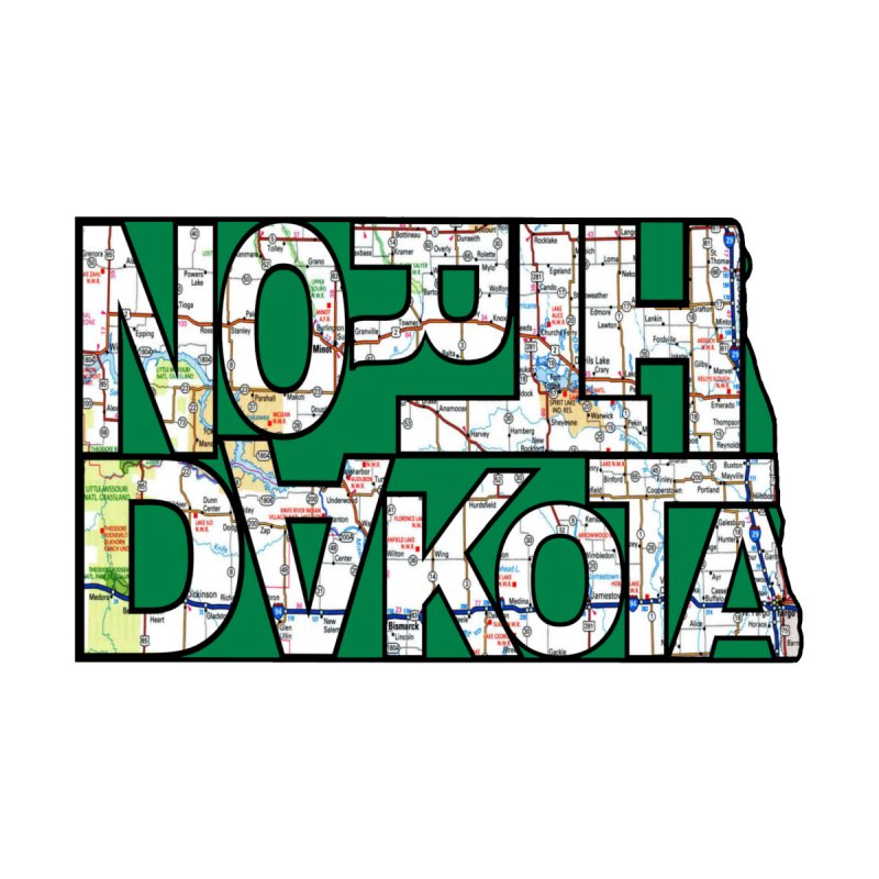 North Dakota State Map Typography Graphic Men's V-Neck by taeamade's Artist Shop