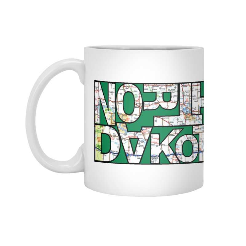 North Dakota State Map Typography Graphic Accessories Mug by taeamade's Artist Shop