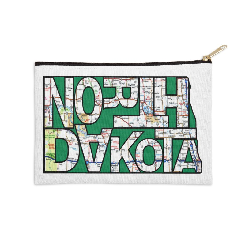 North Dakota State Map Typography Graphic Accessories Zip Pouch by taeamade's Artist Shop