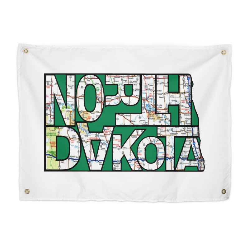 North Dakota State Map Typography Graphic Home Tapestry by taeamade's Artist Shop