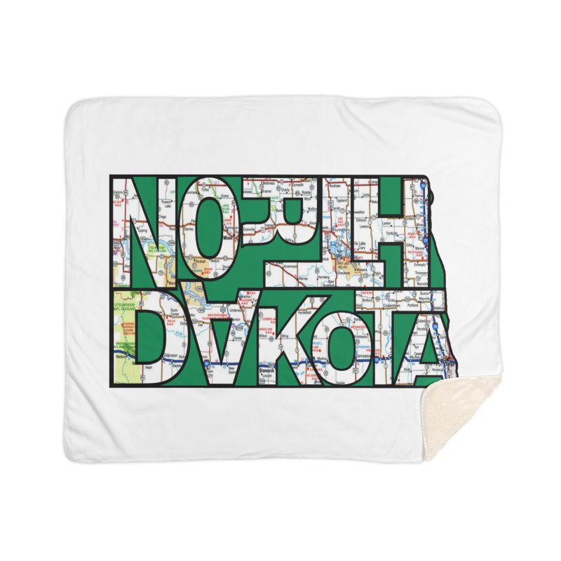 North Dakota State Map Typography Graphic Home Blanket by taeamade's Artist Shop