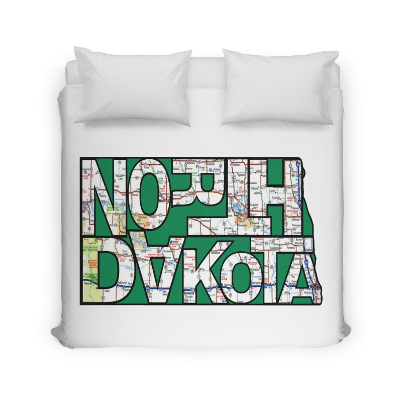 North Dakota State Map Typography Graphic Home Duvet by taeamade's Artist Shop
