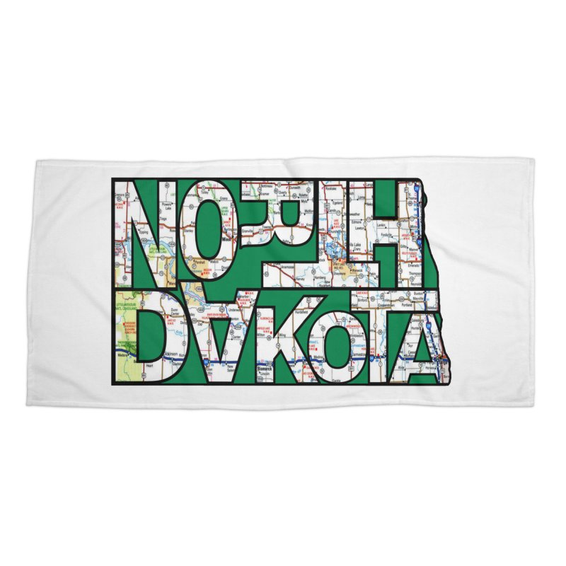 North Dakota State Map Typography Graphic Accessories Beach Towel by taeamade's Artist Shop