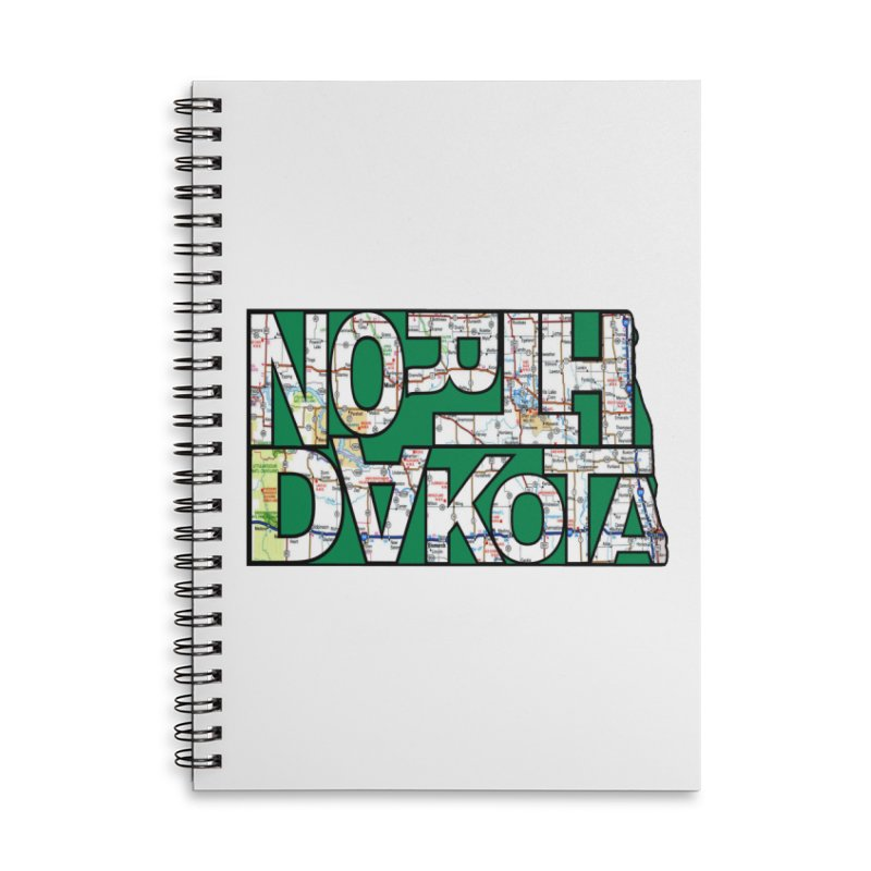 North Dakota State Map Typography Graphic Accessories Notebook by taeamade's Artist Shop