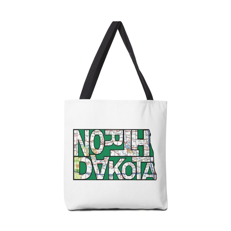 North Dakota State Map Typography Graphic Accessories Bag by taeamade's Artist Shop