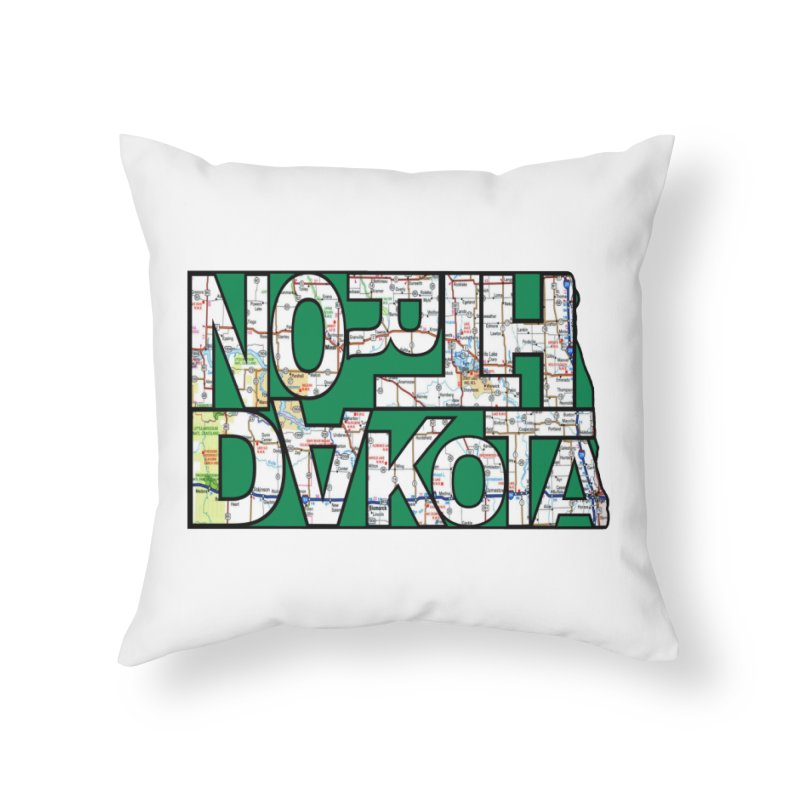 North Dakota State Map Typography Graphic Home Throw Pillow by taeamade's Artist Shop