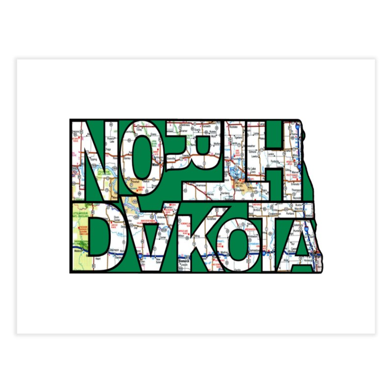 North Dakota State Map Typography Graphic Home Fine Art Print by taeamade's Artist Shop