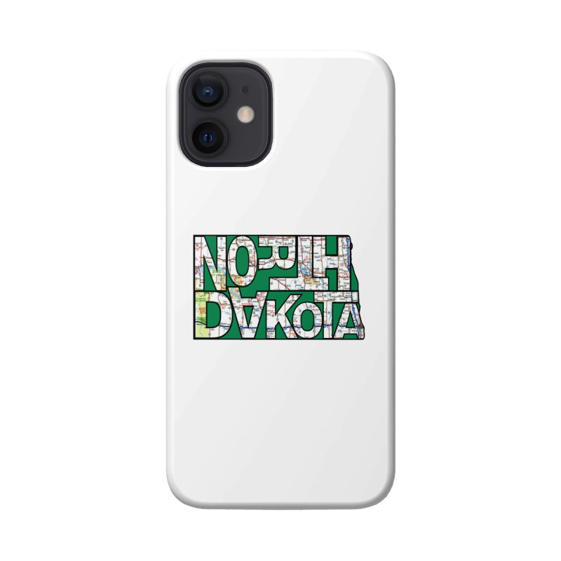North Dakota State Map Typography Graphic Accessories Phone Case by taeamade's Artist Shop