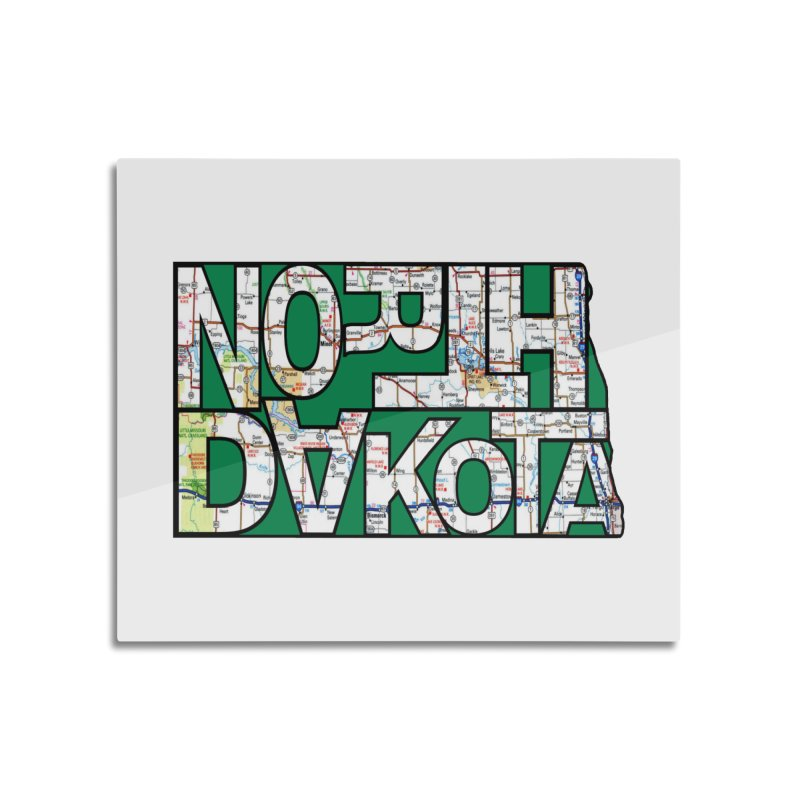 North Dakota State Map Typography Graphic Home Mounted Aluminum Print by taeamade's Artist Shop