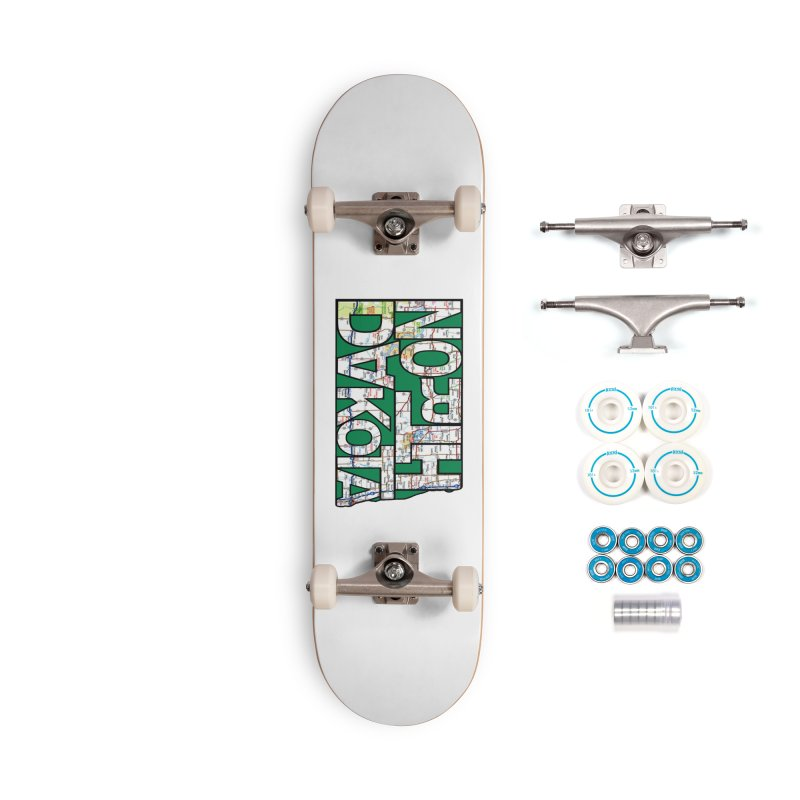 North Dakota State Map Typography Graphic Accessories Skateboard by taeamade's Artist Shop