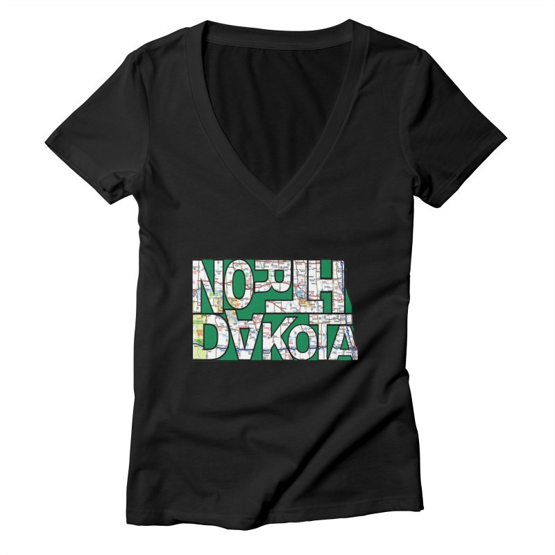 North Dakota State Map Typography Graphic Women's V-Neck by taeamade's Artist Shop