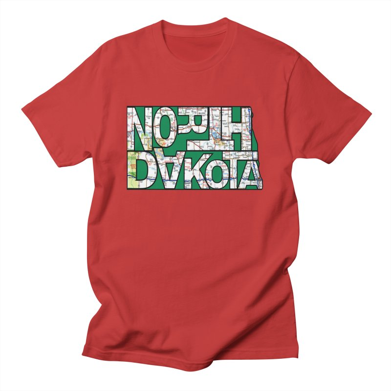 North Dakota State Map Typography Graphic Men's T-Shirt by taeamade's Artist Shop