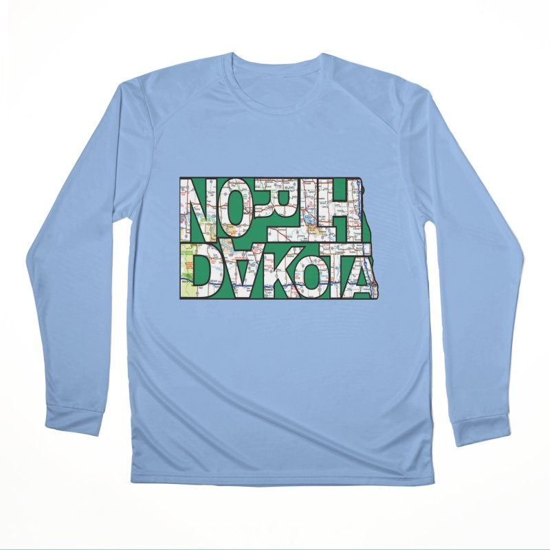 North Dakota State Map Typography Graphic Women's Longsleeve T-Shirt by taeamade's Artist Shop