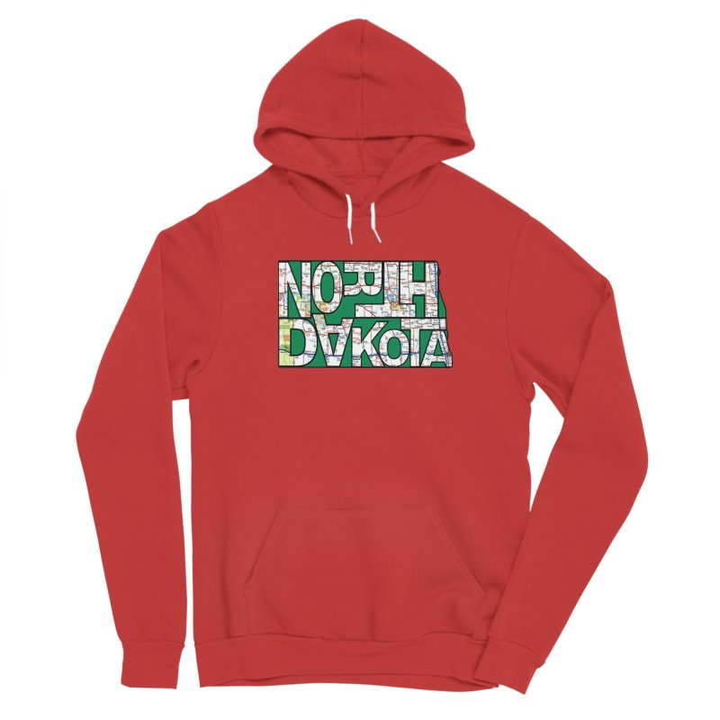 North Dakota State Map Typography Graphic Men's Pullover Hoody by taeamade's Artist Shop