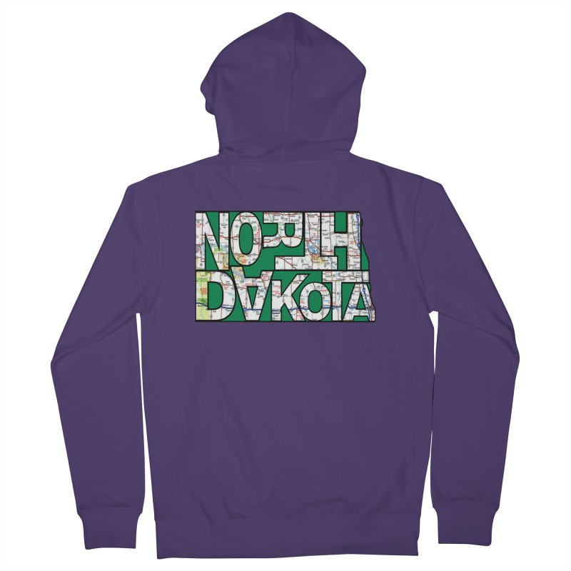 North Dakota State Map Typography Graphic Women's Zip-Up Hoody by taeamade's Artist Shop