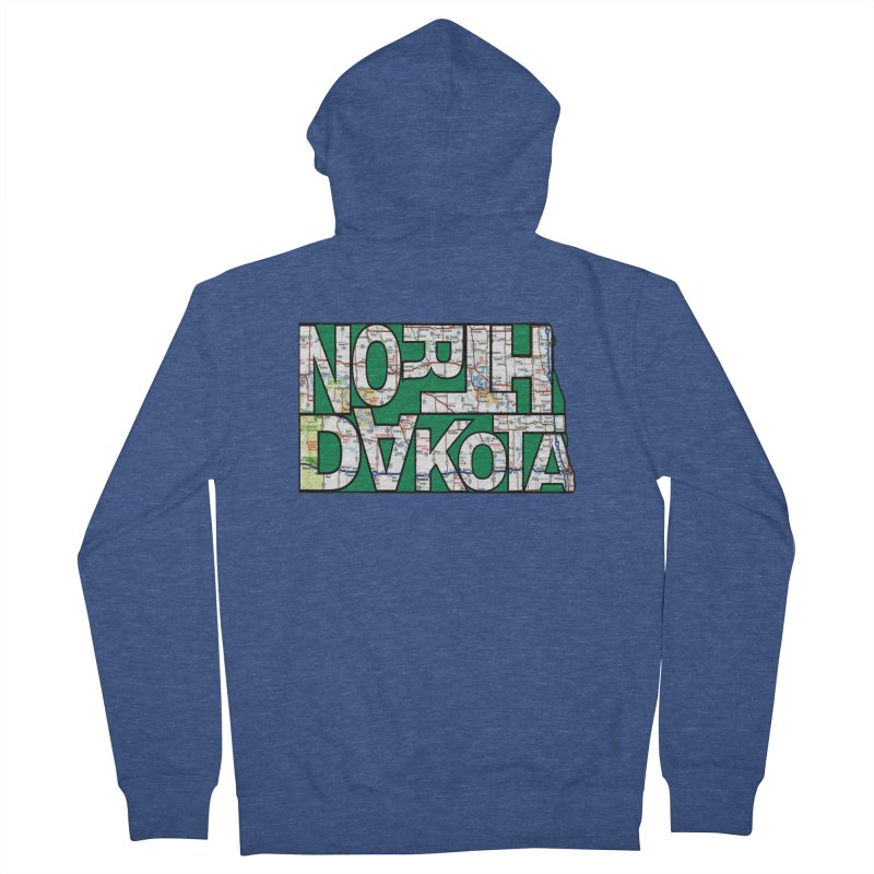 North Dakota State Map Typography Graphic Men's Zip-Up Hoody by taeamade's Artist Shop