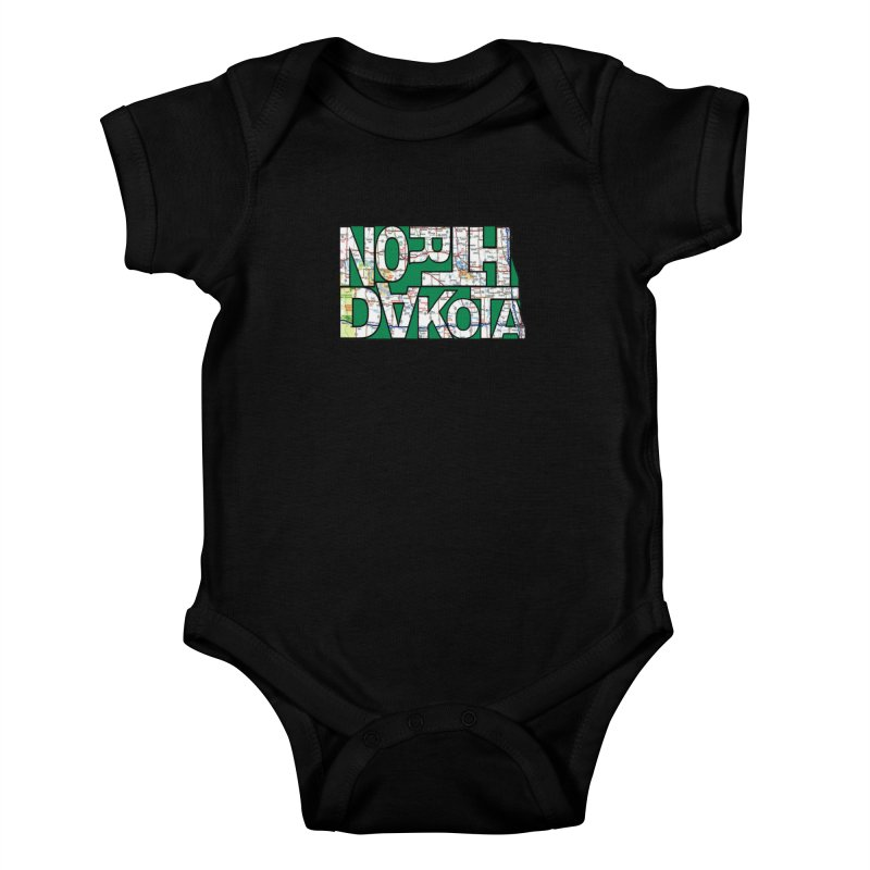 North Dakota State Map Typography Graphic Kids Baby Bodysuit by taeamade's Artist Shop