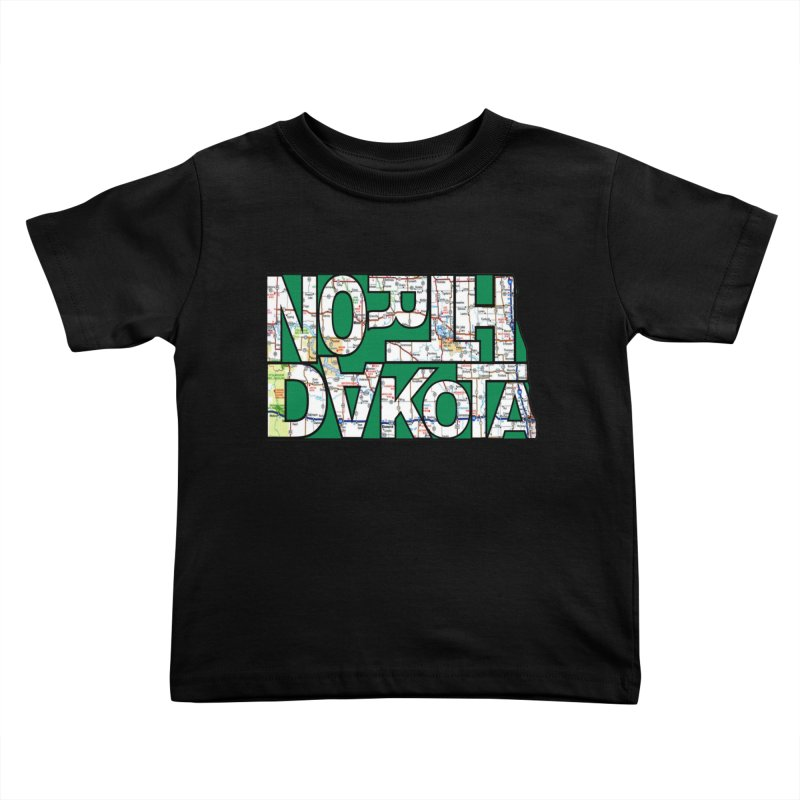 North Dakota State Map Typography Graphic Kids Toddler T-Shirt by taeamade's Artist Shop