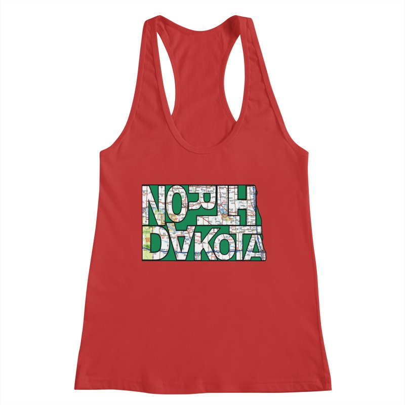 North Dakota State Map Typography Graphic Women's Tank by taeamade's Artist Shop
