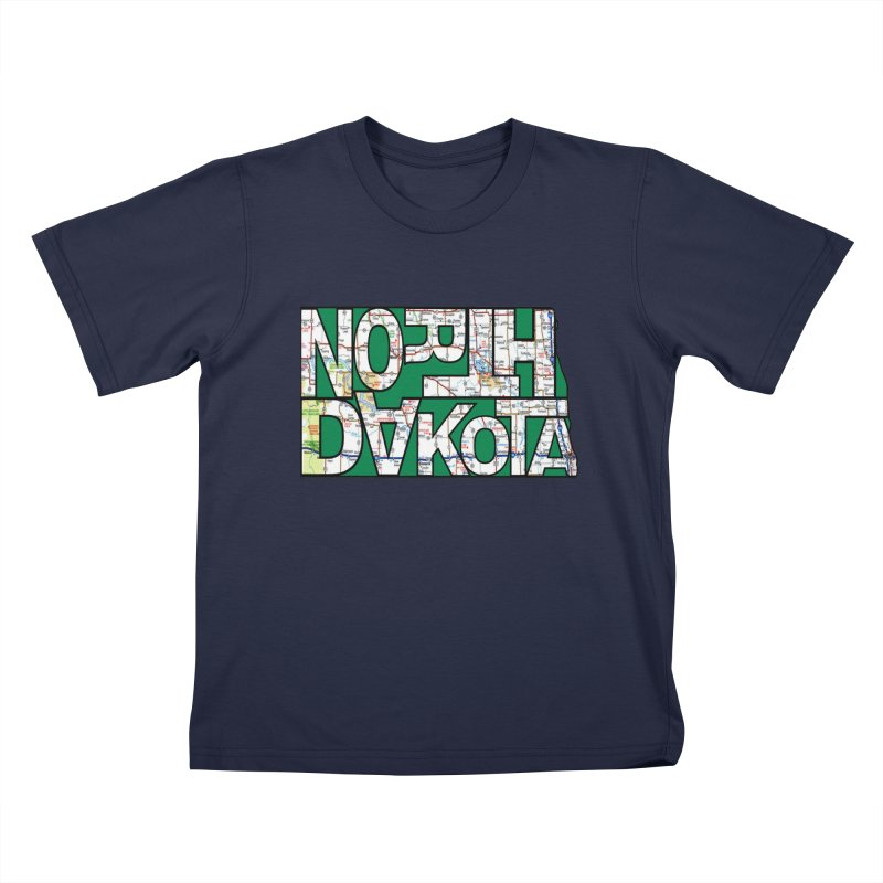 North Dakota State Map Typography Graphic Kids T-Shirt by taeamade's Artist Shop
