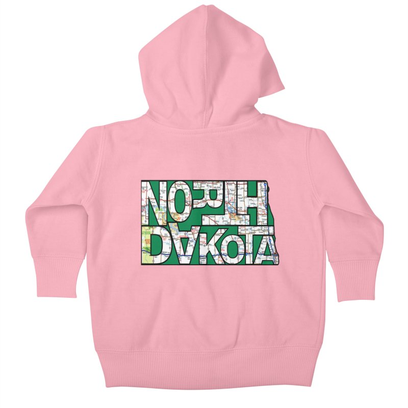 North Dakota State Map Typography Graphic Kids Baby Zip-Up Hoody by taeamade's Artist Shop