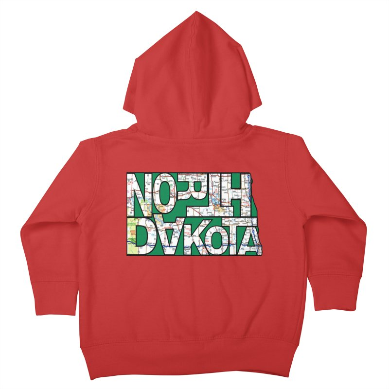 North Dakota State Map Typography Graphic Kids Toddler Zip-Up Hoody by taeamade's Artist Shop