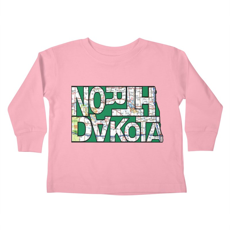 North Dakota State Map Typography Graphic Kids Toddler Longsleeve T-Shirt by taeamade's Artist Shop