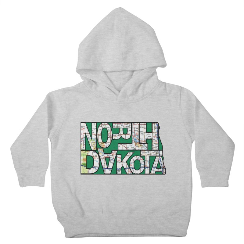 North Dakota State Map Typography Graphic Kids Toddler Pullover Hoody by taeamade's Artist Shop