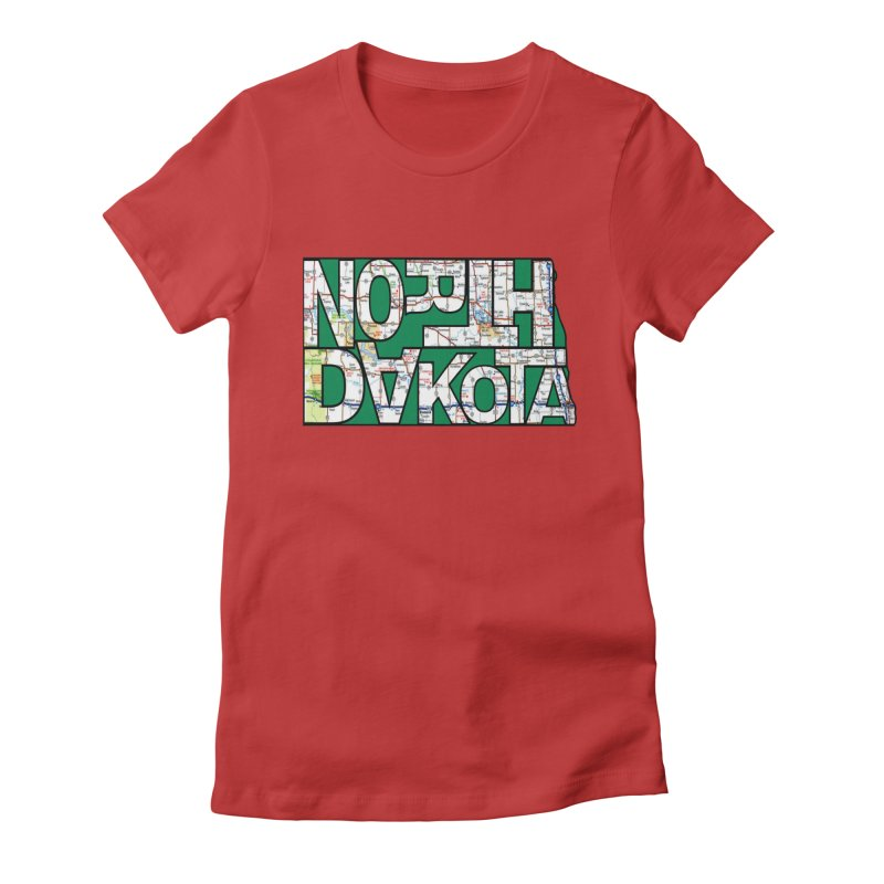 North Dakota State Map Typography Graphic Women's T-Shirt by taeamade's Artist Shop