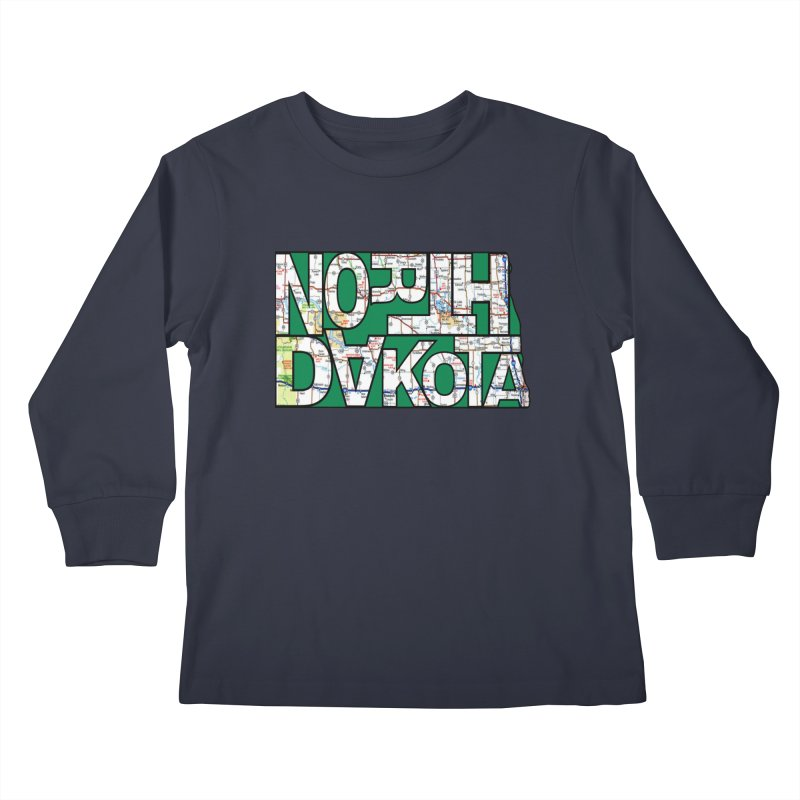 North Dakota State Map Typography Graphic Kids Longsleeve T-Shirt by taeamade's Artist Shop