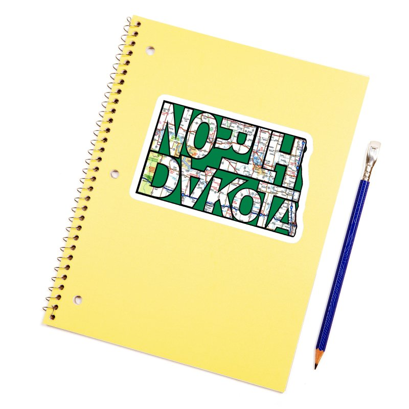North Dakota State Map Typography Graphic Accessories Sticker by taeamade's Artist Shop