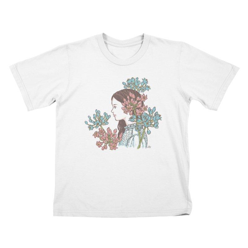 Agapanthus 소녀 Kids T-shirt by taeyun's Artist Shop