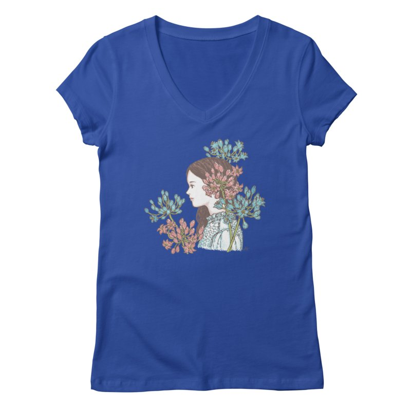 Agapanthus 소녀 Women's V-Neck by taeyun's Artist Shop