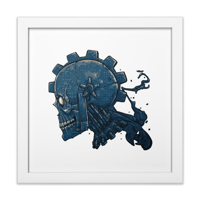 Mech Head in Framed Fine Art Print White by Tail Jar's Artist Shop
